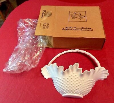 Vintage Homco Exclusive White Hobnail Basket Wall Hanging New In Box