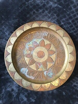 "Antique Signed 13.25"" Middle Eastern Brass Inlaid Silver Copper Wall Hanger Tray"