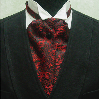 Cravat Ascot Wedding Old West Vintage Victorian style tie Black and Red