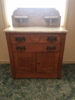 Antique Oak Marble Top Wash Stand With Candle Holders