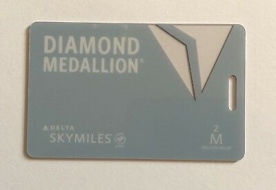 New 2018 Delta Airlines 2mm Diamond Medallion Luggage Tag With Metal Cord