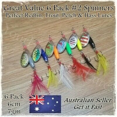 Trout & Redfin Fishing Spinner Lures, Perch, Bass, Yellowbelly Spinners 6 Pack