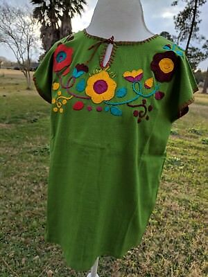 Mexican Embroidered Blouse with Flowers Green Blouse Size M