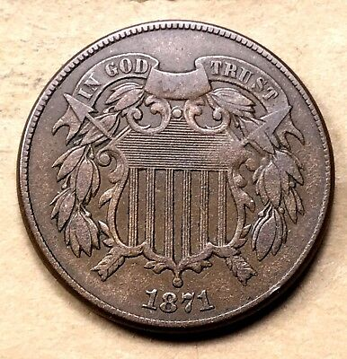 1871 Two Cent Piece  VF/XF
