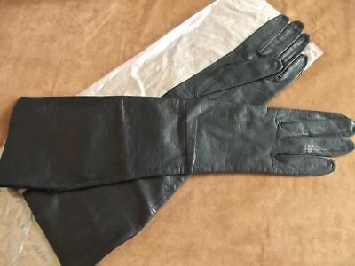 "Vintage Unused Black Leather 14"" Long Elbow Opera Gloves Sz 6-1/2 Made Italy"