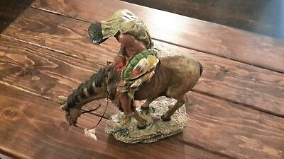 """End of The Trail Indian Native Warrior On Horse Figurine Statue Decor 12"""" x 11"""""""