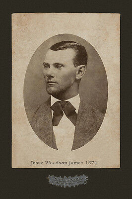 JESSE JAMES Notorious Outlaw 1874 Vintage Photograph Cabinet Card Reproduction