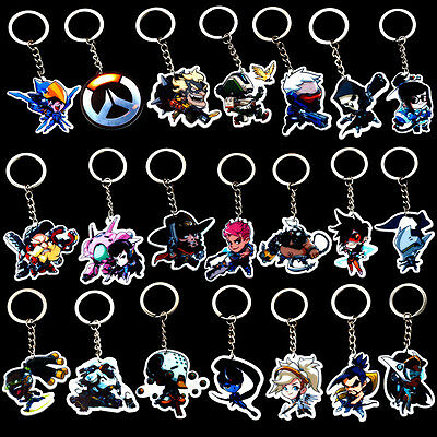 Overwatch Keychain 21 Heros Q Version Acrylic Keychain Key Ring Pendant Hangings