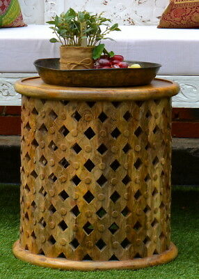 Round Hand Carved Natural Plantation Timber Bamileke Side Table