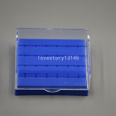 1x24 Holes Dental Diamond High Speed Handpiece Burs Drill Holder Box Case Blue