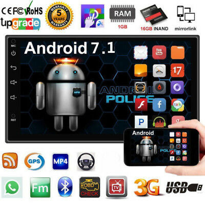 """Android 7.0 7"""" 2DIN Quad Core 3G WIFI Double Car Radio Stereo MP5 GPS Player EW"""