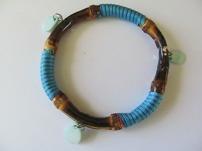 NATURAL BAMBOO WOOD w/GREEN TEARDROP CHARMS-TURQUOISE SLIP ON BANGLE BRACELET