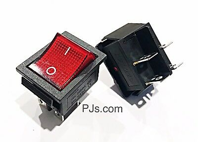 Large RED DPST ON-OFF 4 Pin Terminals Rocker Switch 15A/20A AC 250V/125V