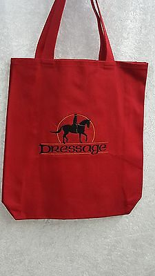 Dressage, Horse Embroidered,  On A Red Canvas Tote Bag