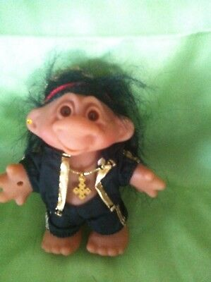 TROLL DAM RAPPER VINTAGE DOLL COLLECTABLE w foot stamp