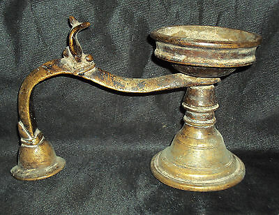 Antique Traditional Indian Ethnic Ritual Bronze Oil Lamp Rare Collectible #1
