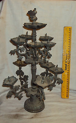 Antique Traditional Indian Ritual Bronze Oil Lamp Rare Collectible BIG SIZE#1