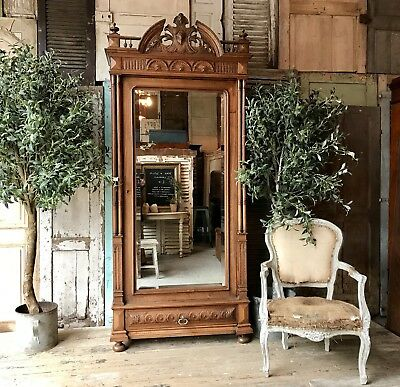 Original vintage French Henri rosewood armoire with Mirrored door