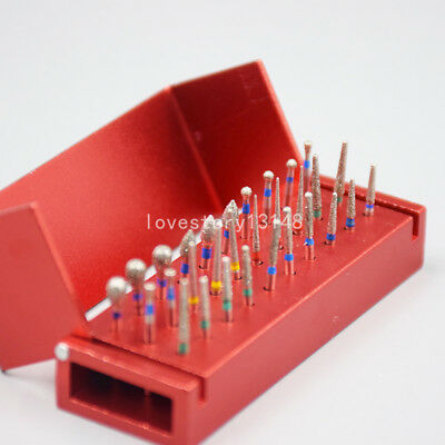 Dental 30 Holes Diamond Burs Drill + Disinfection Bur Block High Speed Handpiece