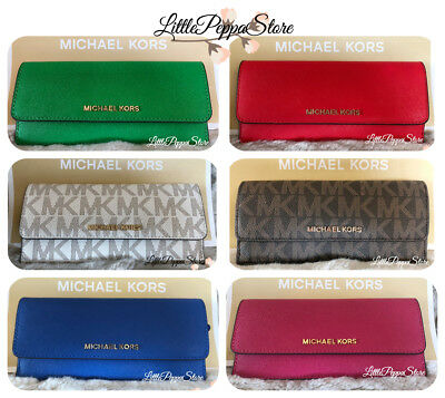 Nwt Michael Kors Jet Set Travel Pvc Or Saffiano Leather Flat Wallet In Various