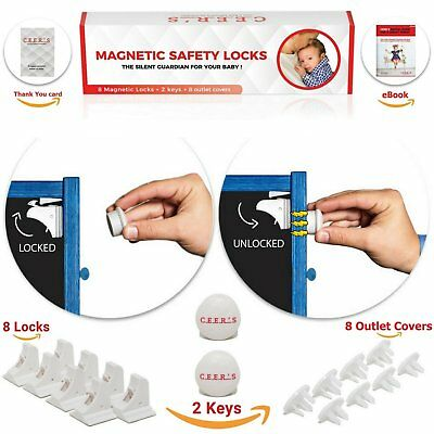 Magnetic Cabinet Locks Child Safety   8 Baby Proof Locks and 2 Keys for all and
