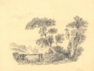 Picturesque View with Lakeside Ruin - Original 19th-century graphite drawing