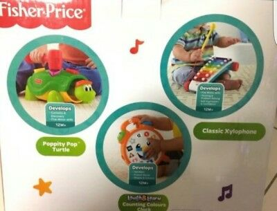 Fisher Price Learning Gift Set Turtle Clock Xylophone Toddler Baby Musical Toys