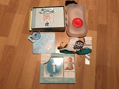 5cp Baby Boy Lot Wipe Container Photo Album Car Sign Rattle Booties First Year
