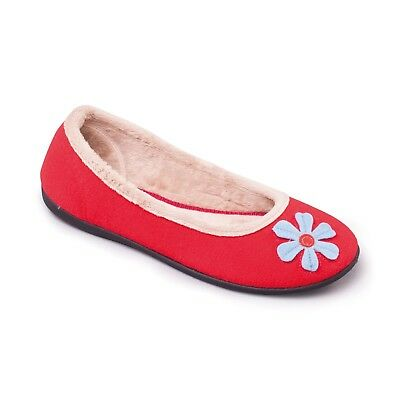Padders HAPPY Ladies Ballerina Memory Foam Extra Wide E Fitting Slipper Red