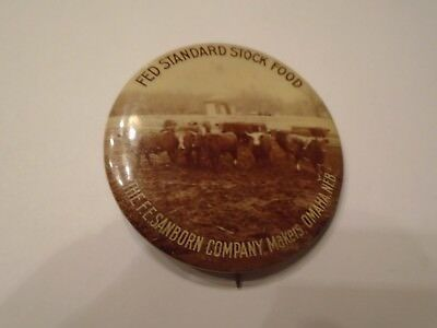 Antique Fed Standard Stock Food South Omaha Stock Yards Graphic Pinback Old Rare