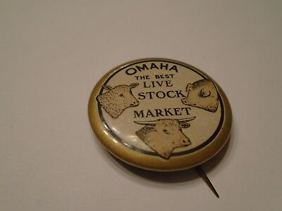 Omaha The Best Live Stock Market Advertising Pinback M F Shafer & Co. Omaha