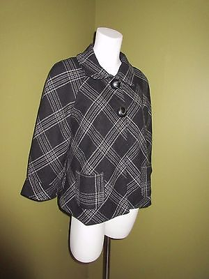 MOTHERHOOD MATERNITY Black Charcoal Gray Wool PLAID Swing JACKET Coat Size S 4 6
