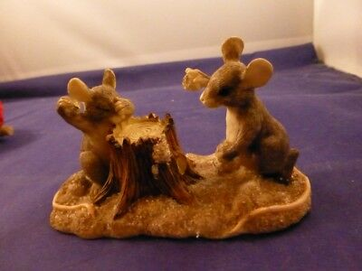 "Charming Tails Figurine ""Two Mice & a Tree Stump"""
