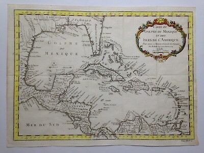 Central America Caribbean 1754 By Bellin Large Antique Copper Engraved Map