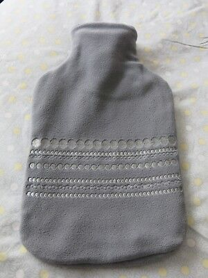 Bouillotte Tissu Polaire Gris Broderies Argent Neuve Hot Water Bottle Grey New