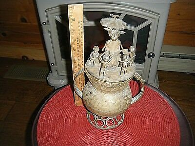 Rare Antique Ashanti African Tribal Art Urn Sculpture Brass Or Bronze Figurines