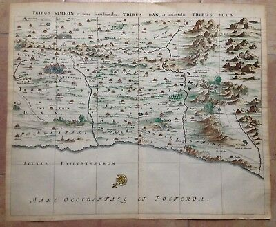HOLY LAND by Olfert DAPPER 1677 XVIIe CENTURY LARGE COPPER ENGRAVED MAP IN COLOR