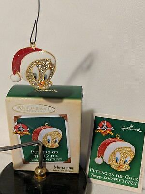 Tweety Looney Tunes Hallmark Miniature Ornament 2004 Putting on the Glitz