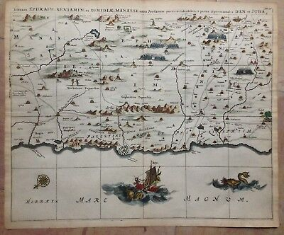 HOLY LAND JERUSALEM by Olfert DAPPER 1677 LARGE COPPER ENGRAVED MAP IN COLOR
