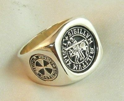 Ring Seal Templars And Crosses Knight Templar Ring In 925 Solid Sterling Silver