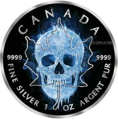 2017 1 Oz Silver ICE SKULL MAPLE LEAF Coin WITH RUTHENIUM.