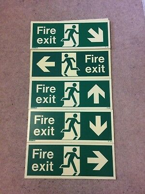 Fire Exit Arrow Sign, Photo Luminescent, Glow Sign, Emergency exit sign