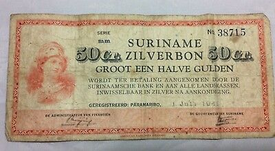Wwii Suriname Zilverbon 50 Ct. Bank Note 1 July 1941