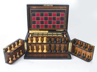 Antique Victorian Coromandel Games Compendium Chess Drafts Etc C1860