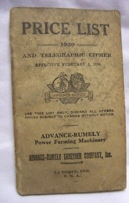 1930 Advance Rumely Farm Machinery Price List OilPull Tractors  & Threshers