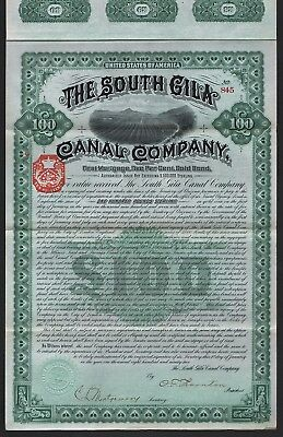 1892 Arizona, USA: The South Gila Canal Company - 100 Pounds Sterling Gold Bond
