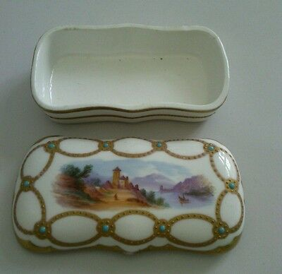 Antik Porzellan Dose match safe Box holder porcelain 19th eme Jahrhundert ca1870