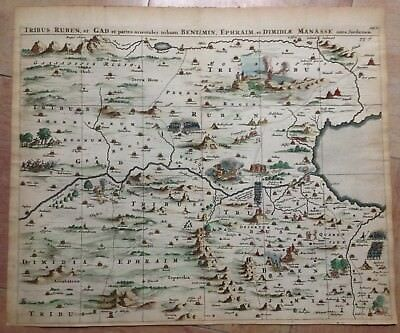HOLY LAND by Olfert DAPPER 1677 LARGE COPPER ENGRAVED MAP IN COLOR