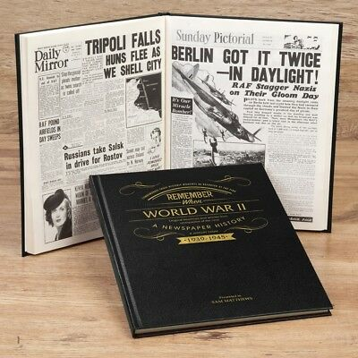 Personalised WW2 WW1 Newspaper Book Green Black World War 1 or 2 History Gift