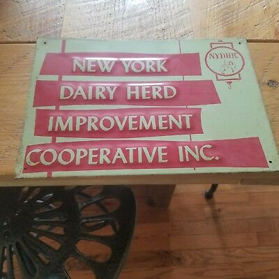 Vintage New York agricultural dairy herd sign